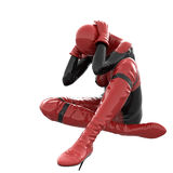 One tall woman in red black super suit. Woman sitting holding his hands behind her head Stock Image