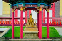 One of teacher of Buddhism statues outside of the temple building. Biggest in Russia and Europe buddhist temple in Elista royalty free stock photos