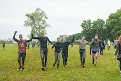 One of teams finishes in cross-country race.Tyumen Royalty Free Stock Photo