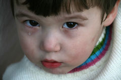 One tear. Cute little boy with one tear in his eyes Royalty Free Stock Images