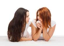 One teenage girl comforting another after break up. Friendship and happy people concept - one teenage girl comforting another after break up Stock Photo