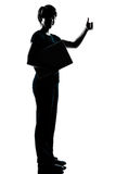 One  teenager silhouette carrying laptop  thumb Stock Images