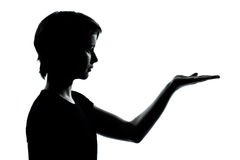 One teenager silhouette empty hands open Stock Image
