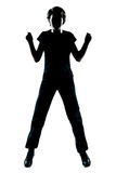 One  teenager  silhouette happy jumping Royalty Free Stock Photos