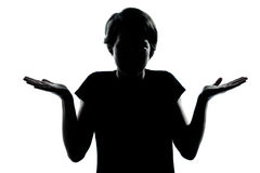 One  teenager  silhouette ignorant hesitation sh Royalty Free Stock Image