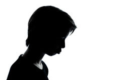 One  teenager silhouette moody pouting sad Royalty Free Stock Photography
