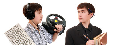 One teenager in the two images Stock Photography