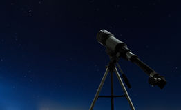 One telescope over night clear sky with stars Royalty Free Stock Photography