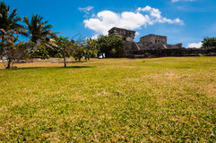 One of the Temples from Mayan ruins in Tulum. One of the well preserved Mayan sites in Tulum, Mexico on Yucatan Peninsula. Part of the precolumbian Maya walled royalty free stock photo