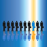 One in Ten Businessmen. One out of ten businessmen stand out in the crowd stock illustration