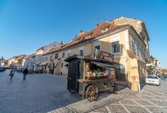 Mobile diner on the pedestrian street of Romanian Brasov royalty free stock images