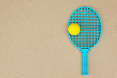 One Tennis racket and ball on the table. Ping pong Stock Photography