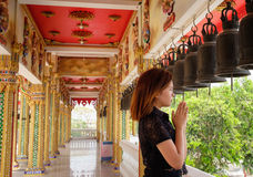 One thai young girl praying in temple Royalty Free Stock Photography