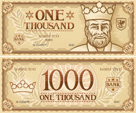 One thousand abstract banknote Royalty Free Stock Images