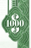 One thousand dollars. Close-up of vintage American bond document. 1000 dollars Royalty Free Stock Image