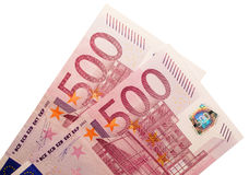 One Thousand Euros. Two five-hundred-euro banknotes isolated over a white background Royalty Free Stock Photography