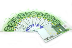 One thousand euros. Isolated one thousand euroson the table stock photo