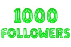 One thousand followers, green color Stock Images