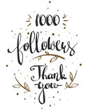 One thousand followers. Vector thanks design template for network friends and followers. Thank you 1000 followers card. Image for Social Networks. Web user Royalty Free Illustration