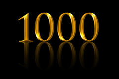 One thousand gold numbers on black background Royalty Free Stock Image