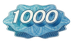 One thousand number. Detail of russian one thousand roubles bank note isolated over white background royalty free stock photography