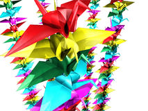 One thousand paper cranes Stock Photos