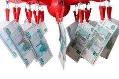 One thousand rubles banknotes on the clothes-peg. Against the white background. Money laundering concept Stock Photos