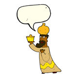 One of the three wise men with speech bubble Stock Image