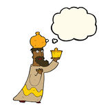 one of the three wise men with thought bubble Royalty Free Stock Image