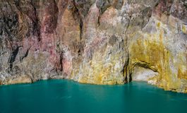 Mt Kelimutu`s volcanic lakes and colored rock faces. flores, Indonesia royalty free stock images