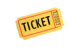 One Ticket on White Background Royalty Free Stock Images