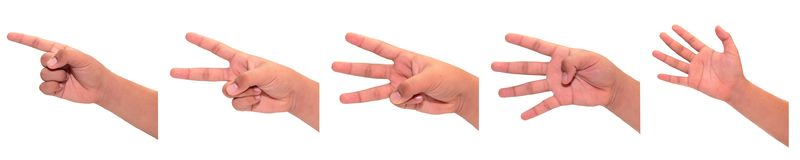 One to five fingers count hand gesture. royalty free stock photography