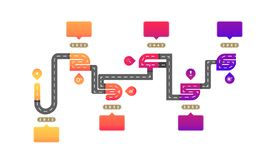One to six way roadmap timeline elements with markpoint graph think search gear target icons. vector illustration eps10. One to six way roadmap timeline elements vector illustration