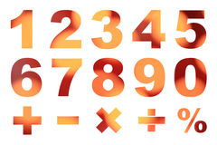 One to zero numbers and basic mathematical symbols Royalty Free Stock Photos