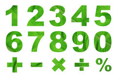 One to zero numbers and basic mathematical symbols Stock Photos