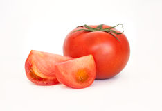 One tomato isolated in white Stock Photos