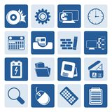 One tone Computer, mobile phone and Internet. Vector Icon Set Stock Photos
