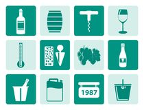 One tone Wine and drink Icons Stock Photography
