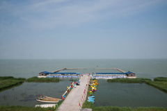 One of the top ten freshwater lakes in China, Chagan Lake boat dock Stock Photography