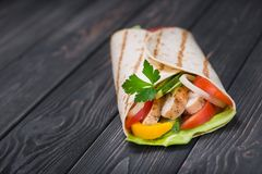 One Tortilla Wrap With Grilled Chicken Stock Photography
