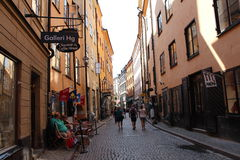 One of the touristic Slockholm's street. Royalty Free Stock Photos