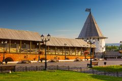 One of towers of Kazan Kremlin, medieval russian fortress, Kaza royalty free stock image