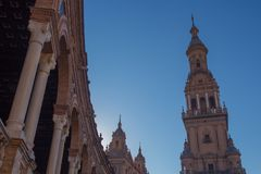 One of the towers at plaza de espana stock photography