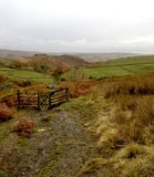One of the tracks leading to Hathersage from Stanage Edge. stock images