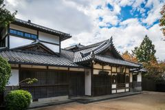 Traditional building at Kiyomizu-dera temple in Kyoto, Japan. One of the traditional buildings with a the specific Japanese roof at Kiyomizu-dera buddhist temple stock image