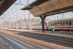 One train at a little italian station royalty free stock photo
