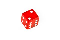 One transparent red die Stock Photo