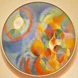 Photo of the original painting `Simultaneous Contrasts: Sun and Moon` by Robert Delaunay. One of the treasures of MoMA, New York royalty free stock image