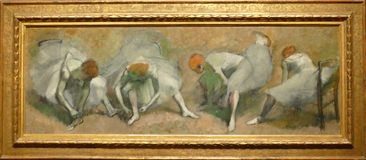 Photo of the original painting by Edgar Degas: `Frieze of Dancers`. It is one of the treasures of Museum of Modern Art in New York stock image
