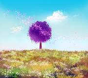 One tree. One creative tree on a glade and the blue sky Royalty Free Stock Photos